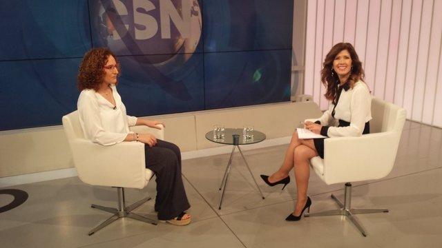 Nuria López (CCOO-A), en una entrevista en Canal Sur.