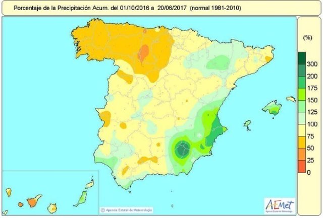 Mapa de lluvias acumuladas desde octubre de 2016 al 20 de junio de 2017