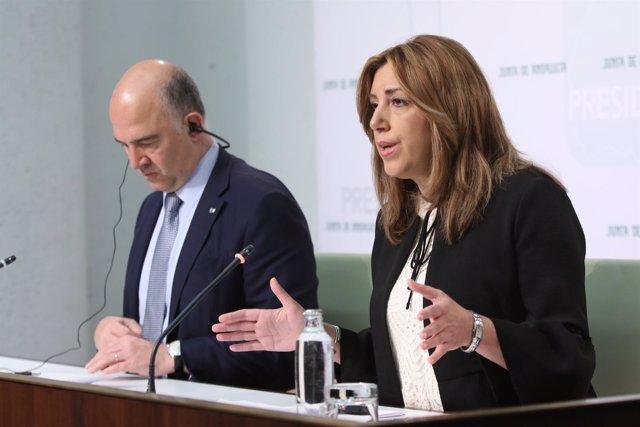 El comisario Pierre Moscovici y Susana Díaz en rueda de prensa en San Telmo