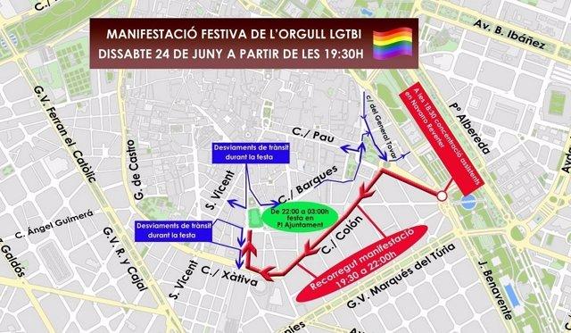 Recorrido de la manifestación en València del Orgullo LGTB