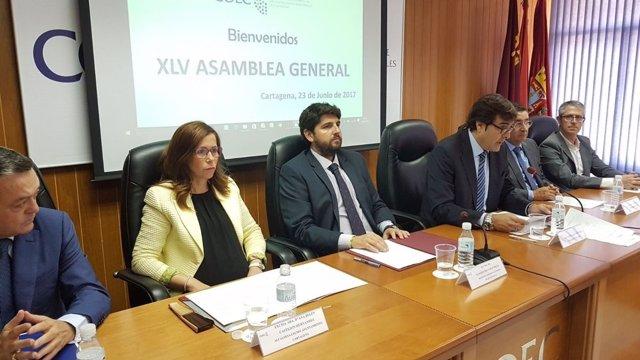 Alcaldesa de Cartagena, Ana Belén Castejón con presidente López Miras