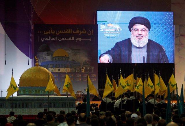Líder de Herzbolá en Líbano en un discurso en Al Quds