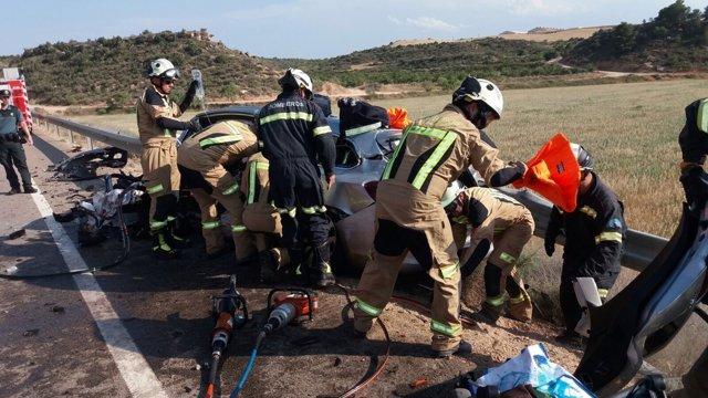Accidente de tráfico en la A-221 entre Caspe y Maella.