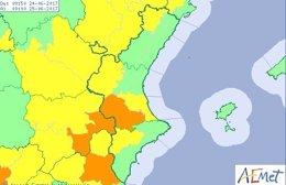 La alerta afecta sobre todo a las comarcas valencianas de interior