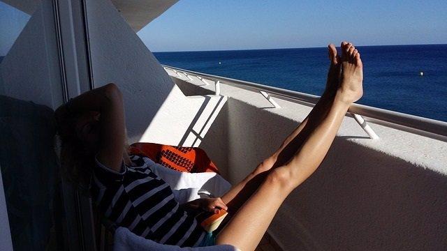 Piernas, terraza, verano, vacaciones, siesta, descanso, mar