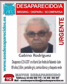 León.- Cartel por la desaparición de Gabino Rodríguez