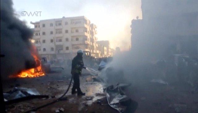 Imagen del atentado en Idlib