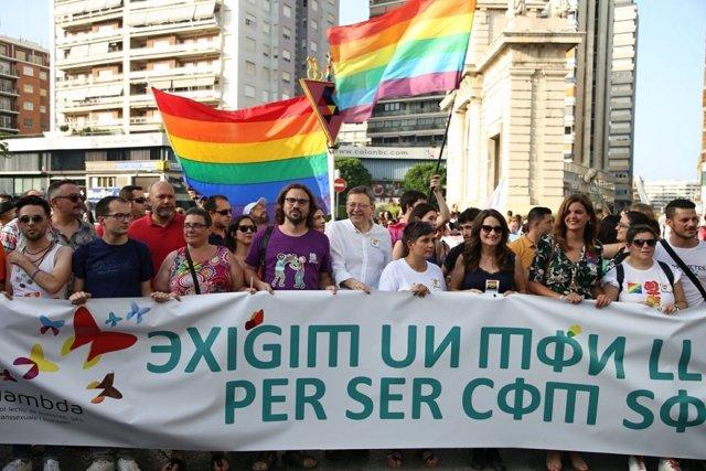 Los líderes del Consell encabezaron la marcha convocada por Lambda