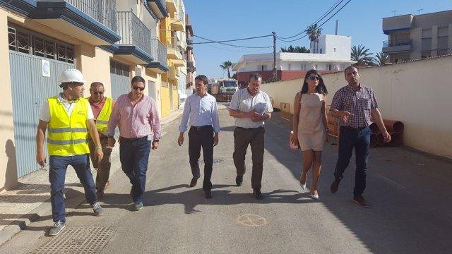 El diputado Óscar Liria, en la visita a las obras de mejora de la Red Galasa.