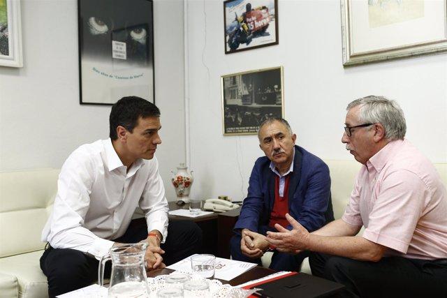 Pedro Sánchez se reúne con Pepe Álvarez e Ignacio Fernández Toxo