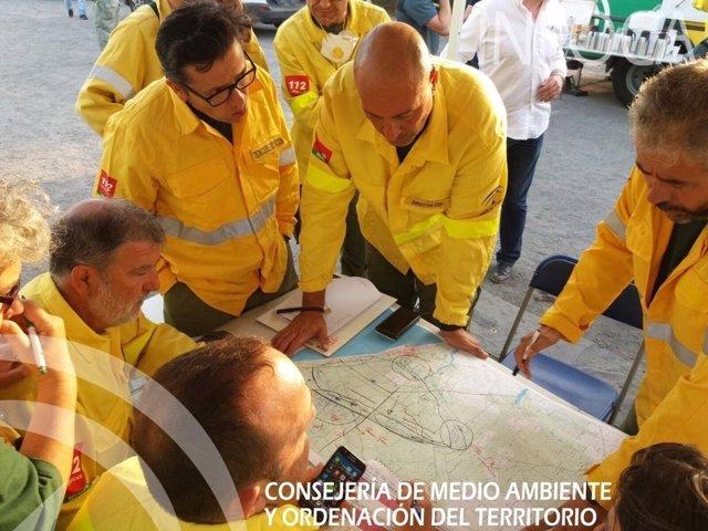 Efectivos desplazados contra el incendio de Moguer (Huelva)