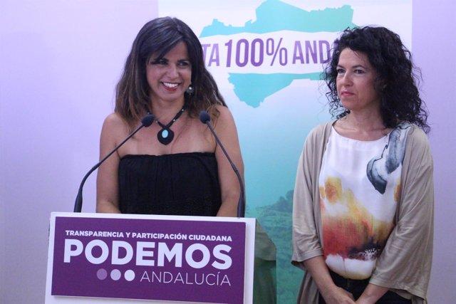 Teresa Rodríguez, en rueda de prensa en la sede de Podemos Andalucía