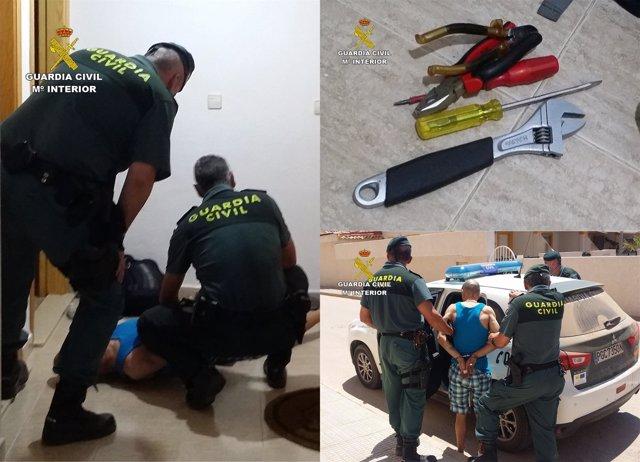Imagen del detenido en la operación y de las herramientas intervenidas