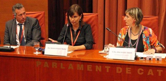 María Victoria Álvarez, exnovia de Jordi Pujol Ferrusola, y su abogado