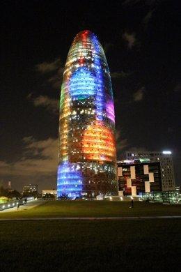 Torre Agbar por Navidad