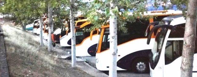 Autobuses estacionados en la huelga