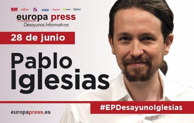 Pablo Iglesias interviene en el Desayuno Informativo de Europa Press