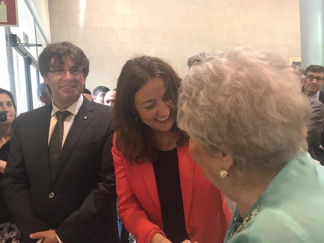 El pte. C.Puigdemont y la pta. De Diputació de Barcelona M.Conesa