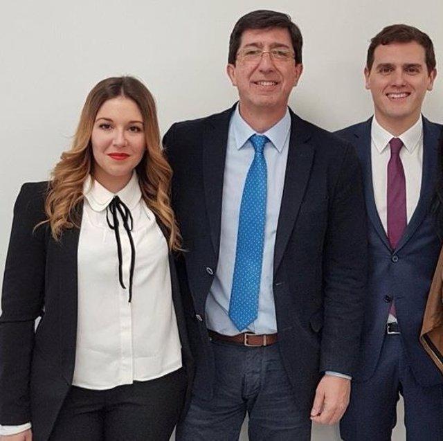 Juan Marín, junto a Raquel Morales y Albert Rivera