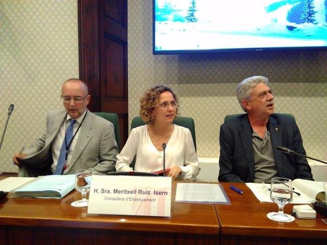 La consellera Meritxell Ruiz, en una comparecencia en el Parlament