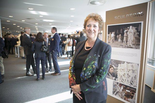 Verónica Lope (PP), en la exposición sobre despoblación en Bruselas