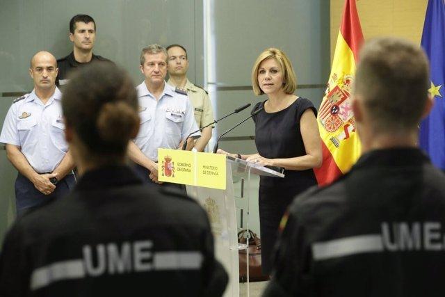 Cospedal recibe a los militares de la UME que trabajaron en el fuego de Portugal