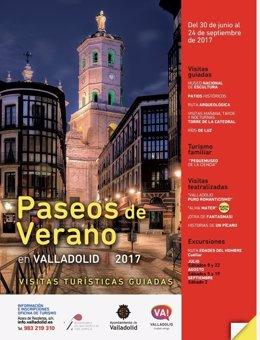 Cartel de las rutas turísticas de la oficina de turismo de Valladolid
