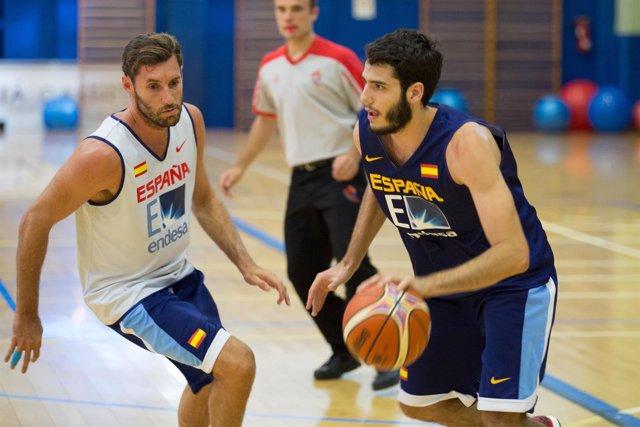 Rudy Fernández, Alex Abrines, entrenamiento Selección Española de Baloncesto