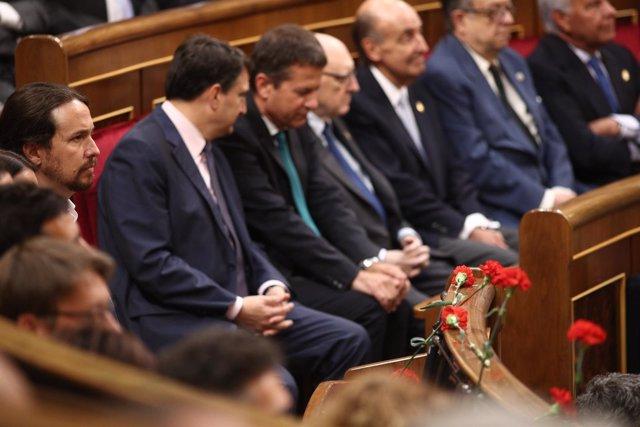 Pablo Iglesias durante el acto por el 40 aniversario de las elecciones de 1977
