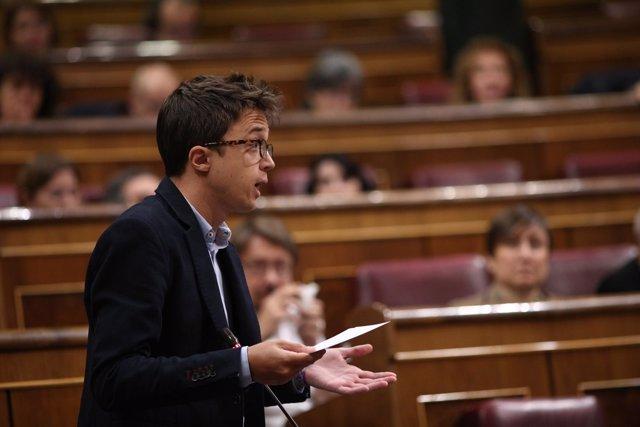 Iñigo Errejón en la sesión de control al Gobierno en el Congreso