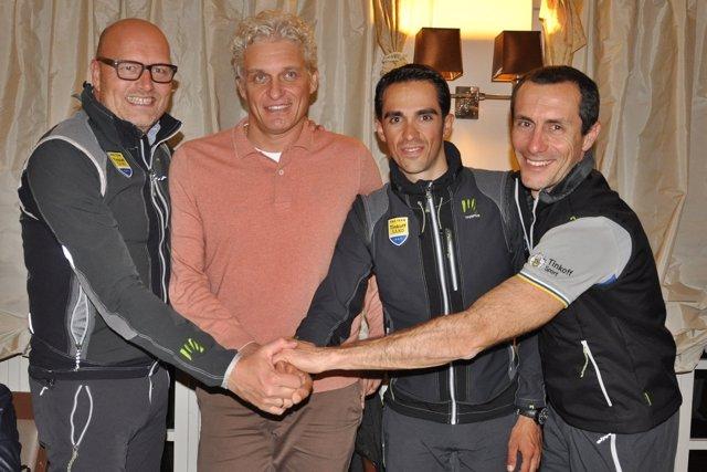 Riis, Tinkov, Contador y Feltrin