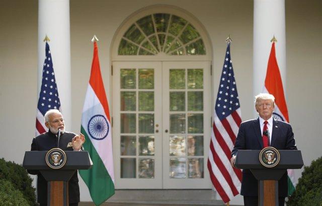Trump y Modi durante una rueda de prensa conjunta en la Casa Blanca