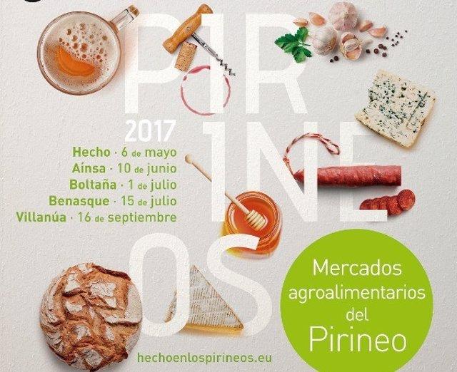 Cartel anunciador de los Mercados Agroalimentarios de los Pirineos