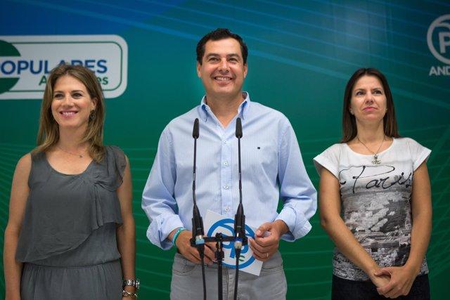 Juanma Moreno, hoy junto a Ana Mestre y Ana Vanesa García
