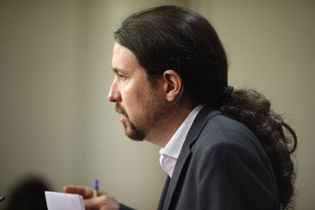 Rueda de prensa de Pablo Iglesias tras reunirse con Pedro Sánchez
