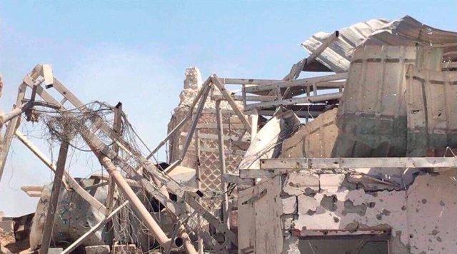 El minarete destruido de la mezquita Al Nuri en Mosul