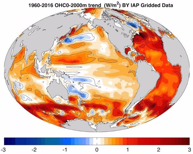 Tasa de calentamiento del océano de 1960 a 2016