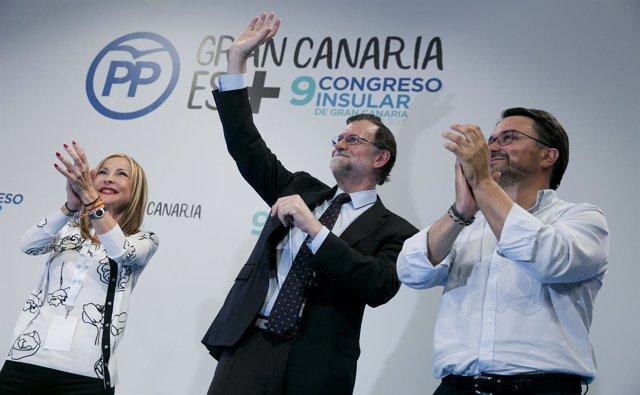 Australia Navarro, Rajoy y Asier Antona en el Congreso del PP de Gran Canaria