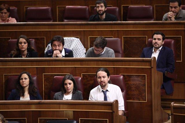 Errejón, Pablo Iglesias e Irene Montero en la sesión de control al Gobierno
