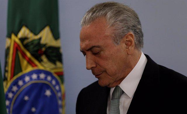 El presidente de Brasil, Michel Temer, en el Palacio de Planalto