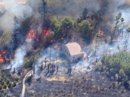 Medios aéreos y terrestres trabajan en la extinción de un incendio forestal en el paraje de El Menju (Cieza)