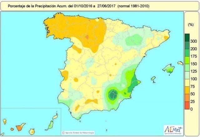 Distribución de las lluvias en España desde 1-oct-2016 a 27-junio-2017