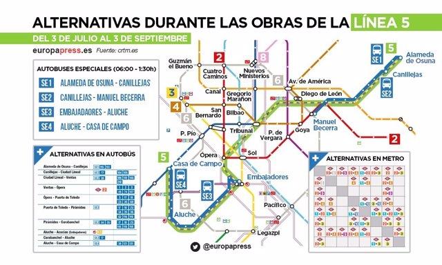 Arranca el lunes el cierre de la L5 de Metro con 4 lanzaderas y