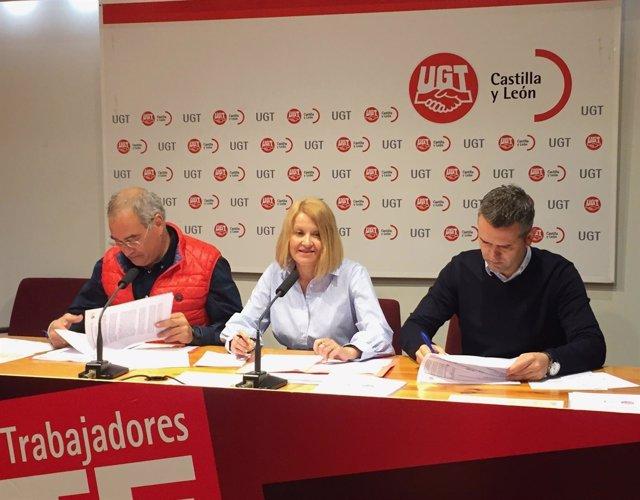 Angulo, Barrera y Raúl Santa Eufemia, en la rueda de prensa de UGT