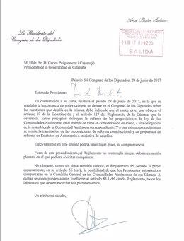 Carta de respuesta de la pta.Congreso, A.Pastor, al pte.C.Puigdemont
