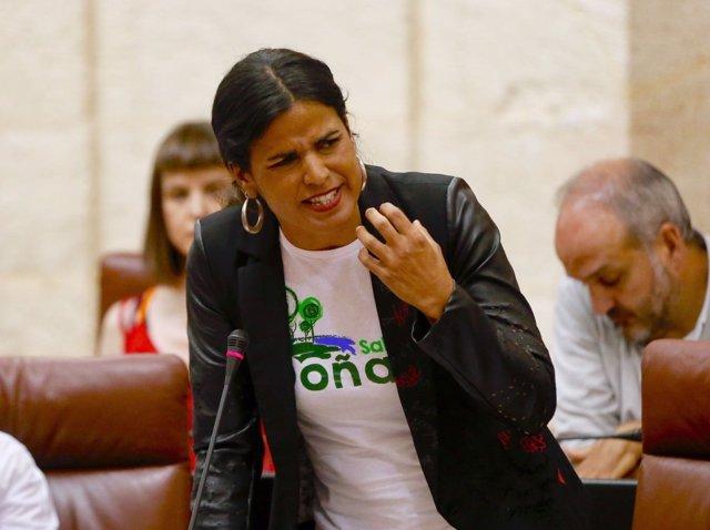 La portavoz parlamentaria de Podemos, Teresa Rodríguez, en el Pleno