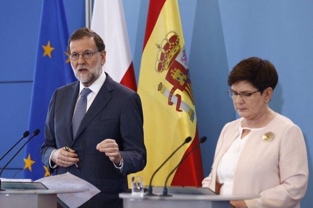 Mariano Rajoy y la primera ministra de Polonia en la cumbre polaco-española