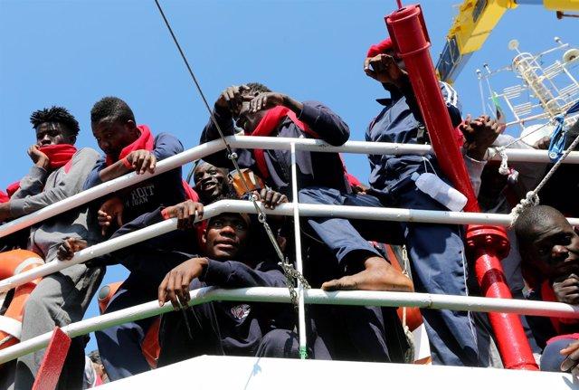 Migranes rescatados en el Mediterráneo