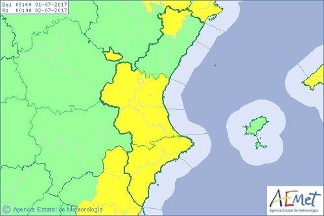 Riesgo activo por lluvias en Valencia y Alicante