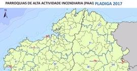 Ocho parroquias gallegas acumulan más de 600 incendios forestales en el último lustro